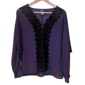 Blue Rain Purple Lace Dolman Sleeve Top